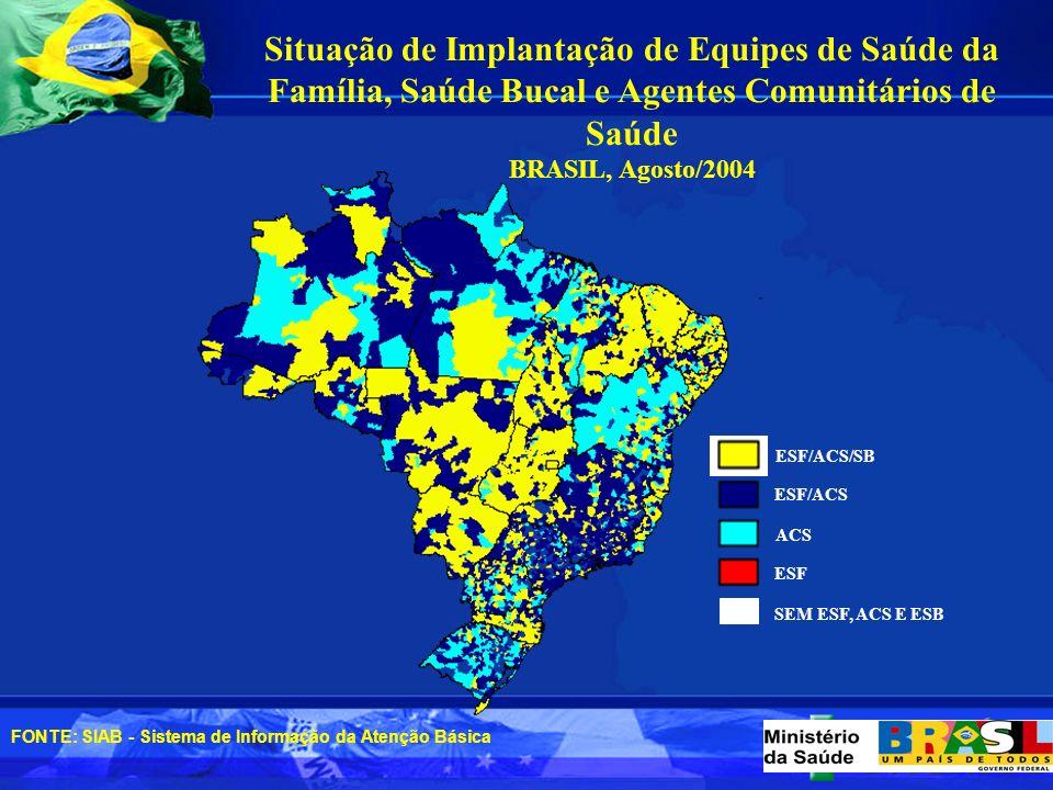 195.491 Agentes em 93,7 % dos municípios brasileiros População coberta: 99.456.191- 56,1% Agentes Comunitários de Saúde-ACS