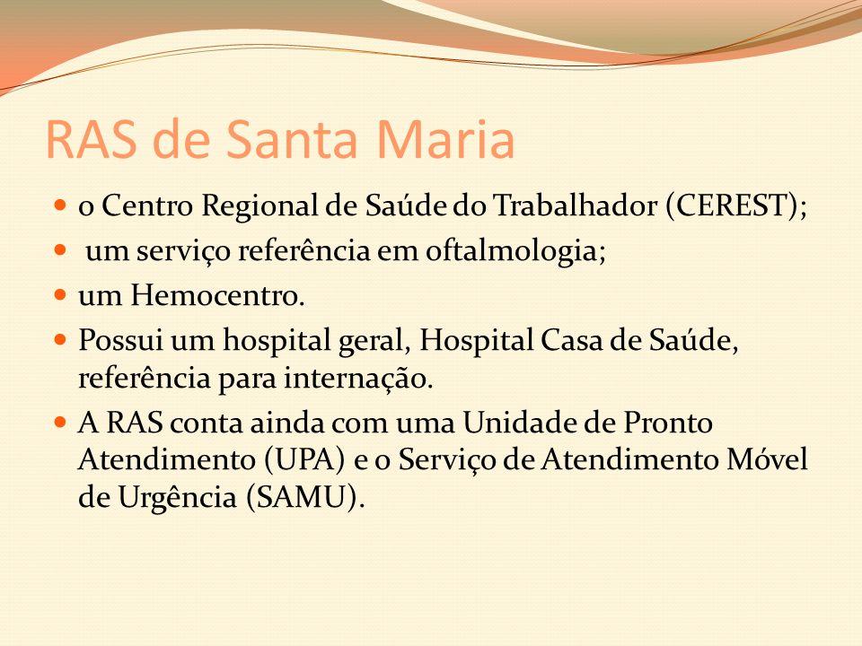 RAS de Santa Maria o Centro Regional de Saúde do Trabalhador (CEREST); um serviço referência em oftalmologia; um Hemocentro.