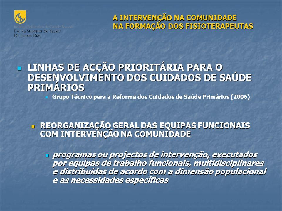 LINHAS DE ACÇÃO PRIORITÁRIA PARA O DESENVOLVIMENTO DOS CUIDADOS DE SAÚDE PRIMÁRIOS LINHAS DE ACÇÃO PRIORITÁRIA PARA O DESENVOLVIMENTO DOS CUIDADOS DE SAÚDE PRIMÁRIOS Grupo Técnico para a Reforma dos Cuidados de Saúde Primários (2006) REORGANIZAÇÃO GERAL DAS EQUIPAS FUNCIONAIS COM INTERVENÇÃO NA COMUNIDADE REORGANIZAÇÃO GERAL DAS EQUIPAS FUNCIONAIS COM INTERVENÇÃO NA COMUNIDADE programas ou projectos de intervenção, executados por equipas de trabalho funcionais, multidisciplinares e distribuídas de acordo com a dimensão populacional e as necessidades específicas programas ou projectos de intervenção, executados por equipas de trabalho funcionais, multidisciplinares e distribuídas de acordo com a dimensão populacional e as necessidades específicas A INTERVENÇÃO NA COMUNIDADE NA FORMAÇÃO DOS FISIOTERAPEUTAS