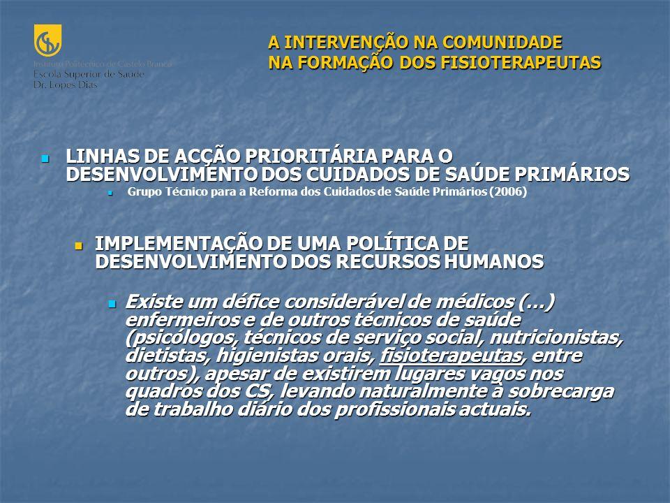 LINHAS DE ACÇÃO PRIORITÁRIA PARA O DESENVOLVIMENTO DOS CUIDADOS DE SAÚDE PRIMÁRIOS LINHAS DE ACÇÃO PRIORITÁRIA PARA O DESENVOLVIMENTO DOS CUIDADOS DE SAÚDE PRIMÁRIOS Grupo Técnico para a Reforma dos Cuidados de Saúde Primários (2006) IMPLEMENTAÇÃO DE UMA POLÍTICA DE DESENVOLVIMENTO DOS RECURSOS HUMANOS IMPLEMENTAÇÃO DE UMA POLÍTICA DE DESENVOLVIMENTO DOS RECURSOS HUMANOS Existe um défice considerável de médicos (…) enfermeiros e de outros técnicos de saúde (psicólogos, técnicos de serviço social, nutricionistas, dietistas, higienistas orais, fisioterapeutas, entre outros), apesar de existirem lugares vagos nos quadros dos CS, levando naturalmente à sobrecarga de trabalho diário dos profissionais actuais.