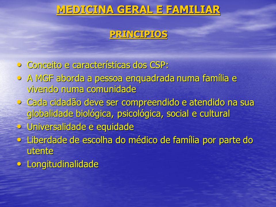 MEDICINA GERAL E FAMILIAR PRINCIPIOS Conceito e características dos CSP: Conceito e características dos CSP: A MGF aborda a pessoa enquadrada numa fam