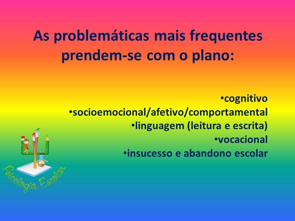 As problemáticas mais frequentes prendem-se com o plano: cognitivo socioemocional/afetivo/comportamental linguagem (leitura e escrita) vocacional insu