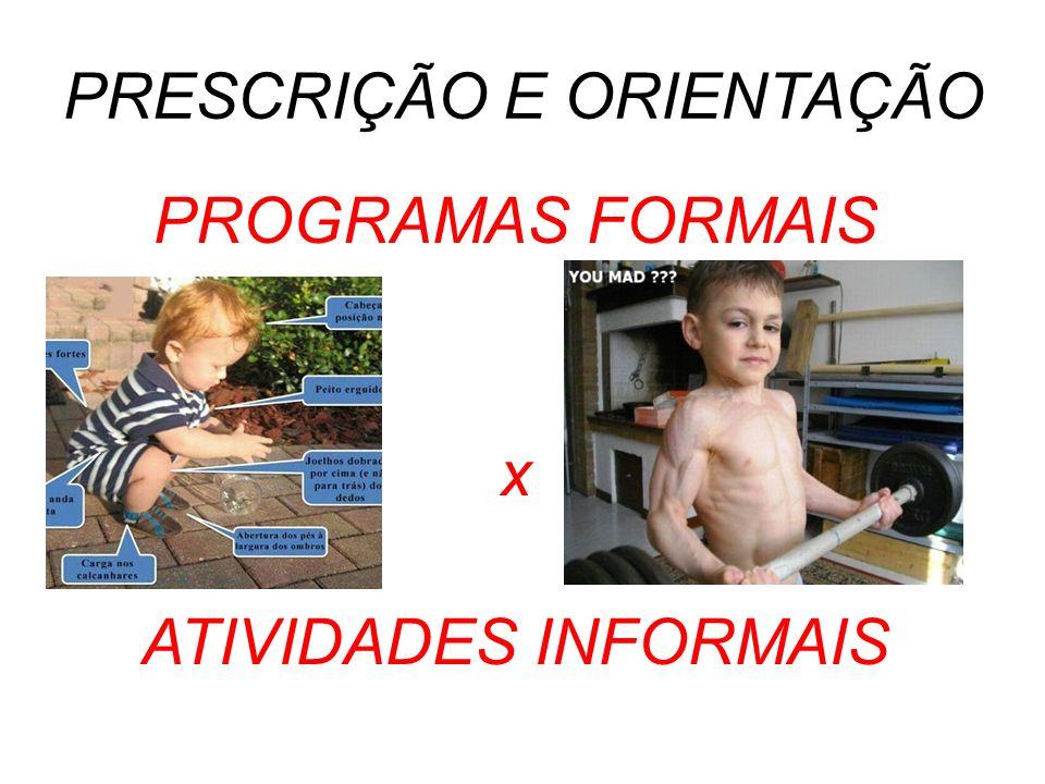 PRESCRIÇÃO E ORIENTAÇÃO PROGRAMAS FORMAIS x ATIVIDADES INFORMAIS