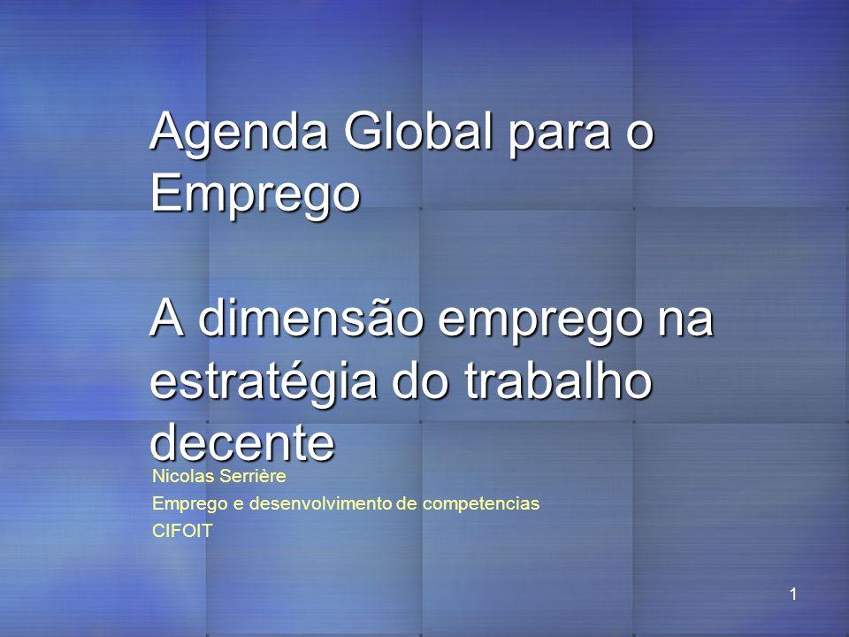 1 Agenda Global para o Emprego A dimensão emprego na estratégia do trabalho decente, Nicolas Serrière Emprego e desenvolvimento de competencias CIFOIT