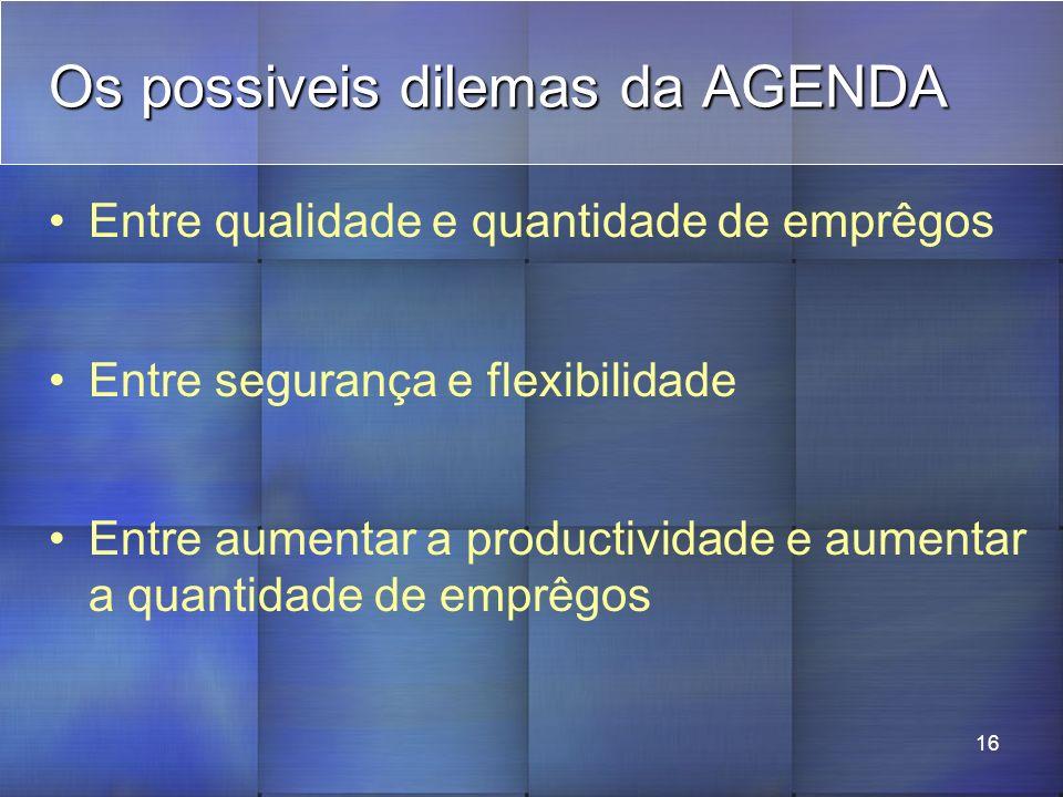 16 Os possiveis dilemas da AGENDA Entre qualidade e quantidade de emprêgos Entre segurança e flexibilidade Entre aumentar a productividade e aumentar a quantidade de emprêgos