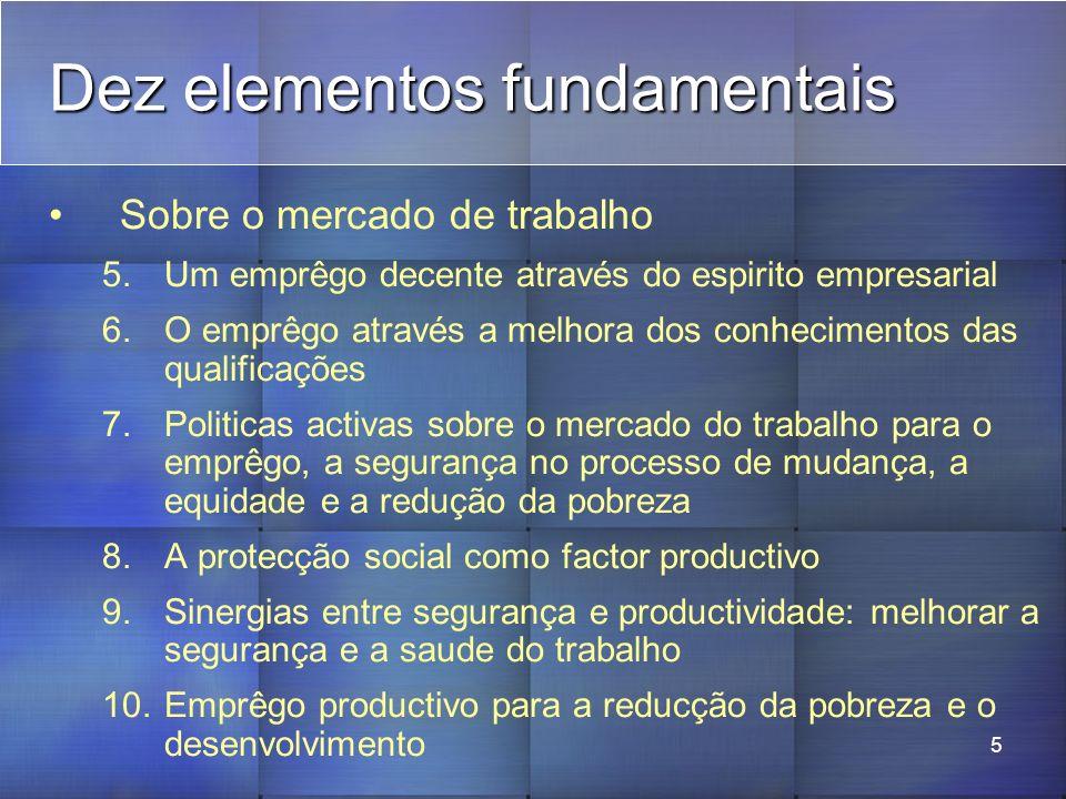 5 Dez elementos fundamentais Sobre o mercado de trabalho 5.Um emprêgo decente através do espirito empresarial 6.O emprêgo através a melhora dos conhecimentos das qualificações 7.Politicas activas sobre o mercado do trabalho para o emprêgo, a segurança no processo de mudança, a equidade e a redução da pobreza 8.A protecção social como factor productivo 9.Sinergias entre segurança e productividade: melhorar a segurança e a saude do trabalho 10.Emprêgo productivo para a reducção da pobreza e o desenvolvimento