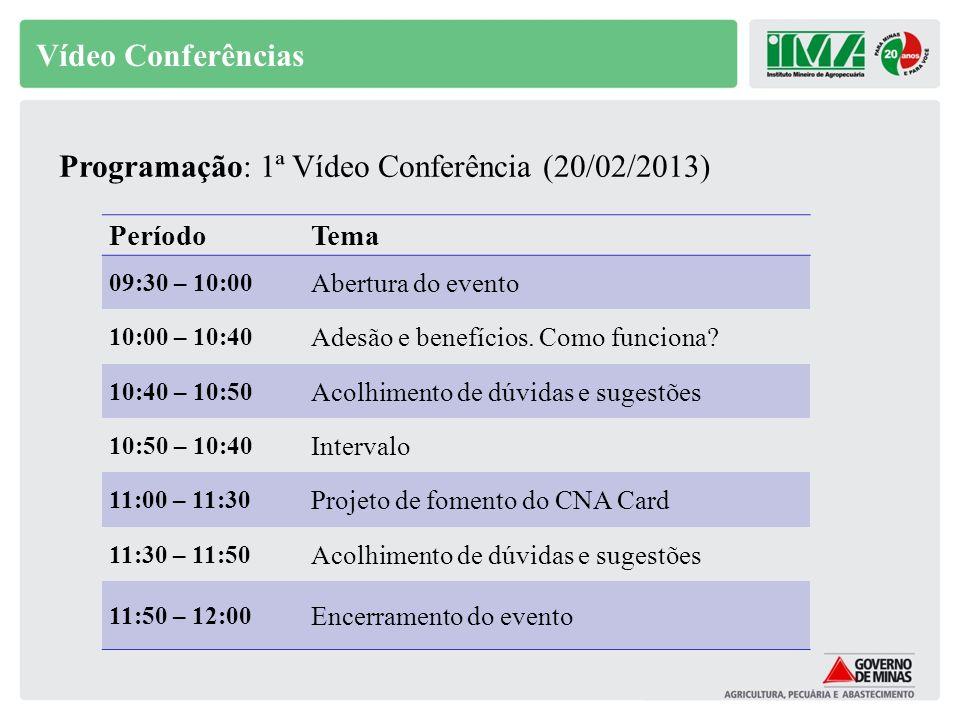 Vídeo Conferências PeríodoTema 09:30 – 10:00 Abertura do evento 10:00 – 10:40 Adesão e benefícios. Como funciona? 10:40 – 10:50 Acolhimento de dúvidas