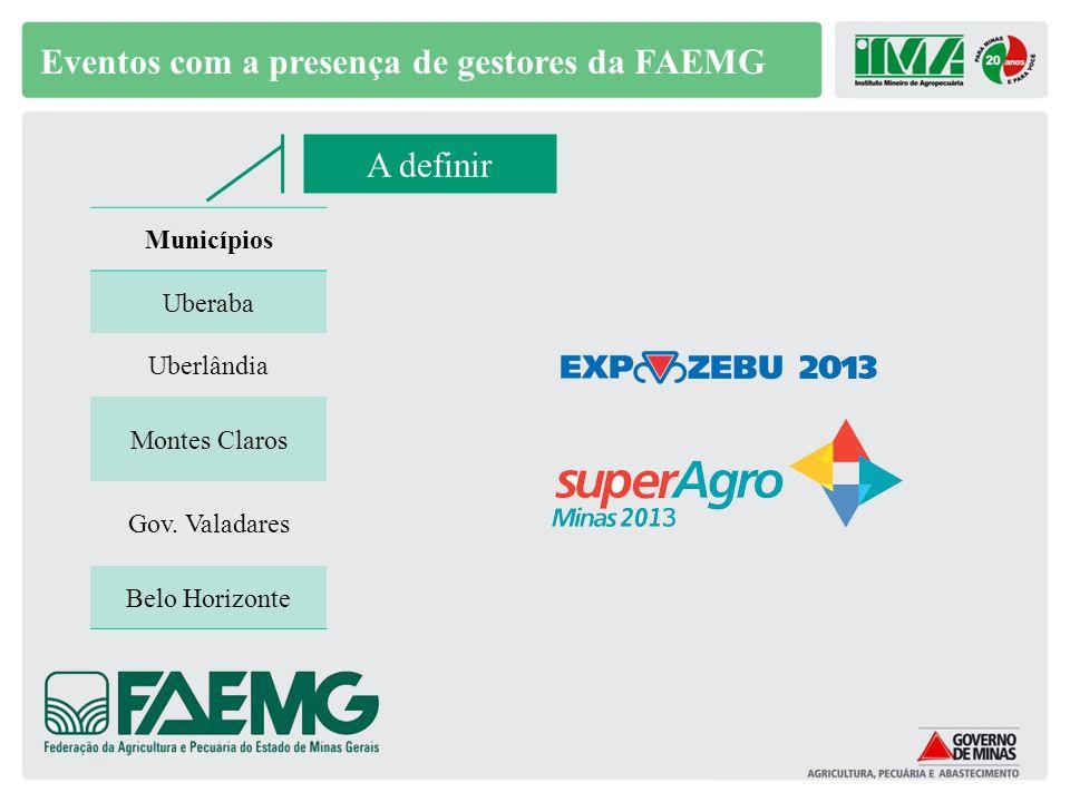 Eventos com a presença de gestores da FAEMG Municípios Uberaba Uberlândia Montes Claros Gov. Valadares Belo Horizonte A definir