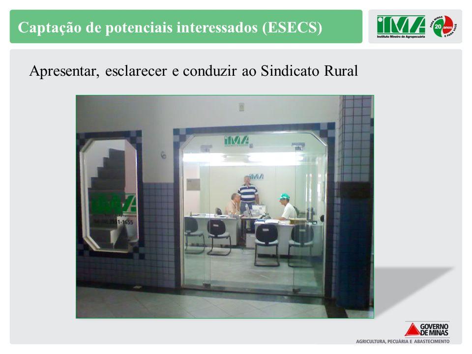 Captação de potenciais interessados (ESECS) Apresentar, esclarecer e conduzir ao Sindicato Rural