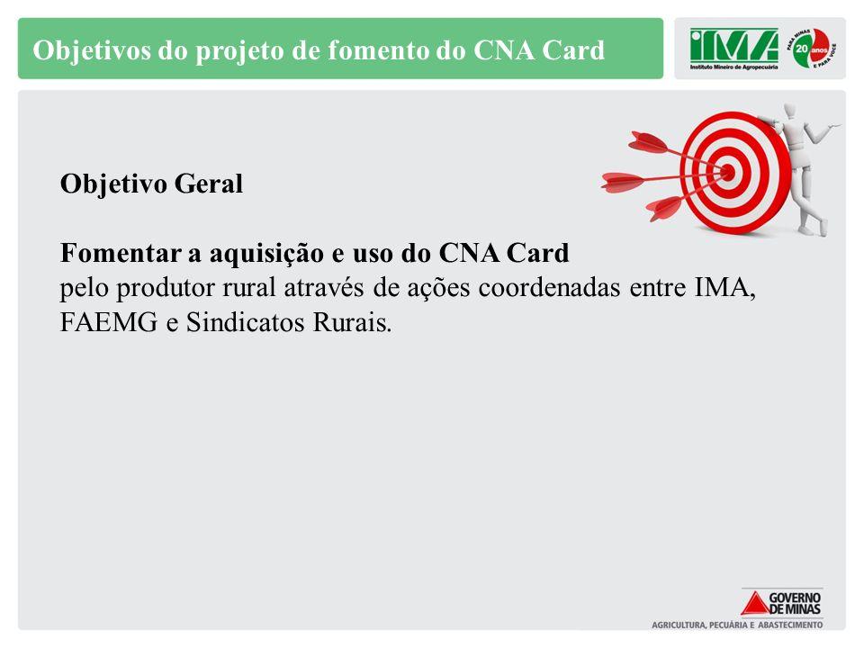 Objetivo Específicos 1.Repassar instruções aos Coordenadores para o gerenciamento regional do projeto; 2.Promover duas vídeo conferências com as equipes regionais do IMA, FAEMG e Sindicatos Rurais; 3.Promover palestras de promoção do CNA Card, nos municípios pertencentes aos escritórios seccionais do IMA e Sindicatos Rurais; Objetivos do projeto de fomento do CNA Card