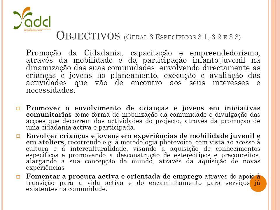 O BJECTIVOS (G ERAL 3 E SPECÍFICOS 3.1, 3.2 E 3.3) Promoção da Cidadania, capacitação e empreendedorismo, através da mobilidade e da participação infa