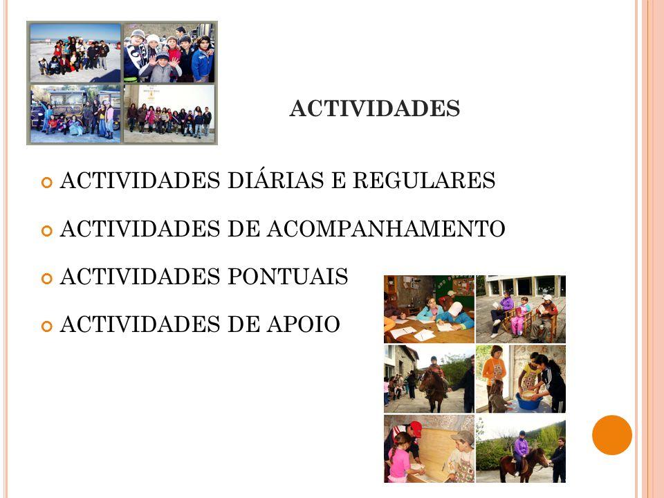 ACTIVIDADES ACTIVIDADES DIÁRIAS E REGULARES ACTIVIDADES DE ACOMPANHAMENTO ACTIVIDADES PONTUAIS ACTIVIDADES DE APOIO