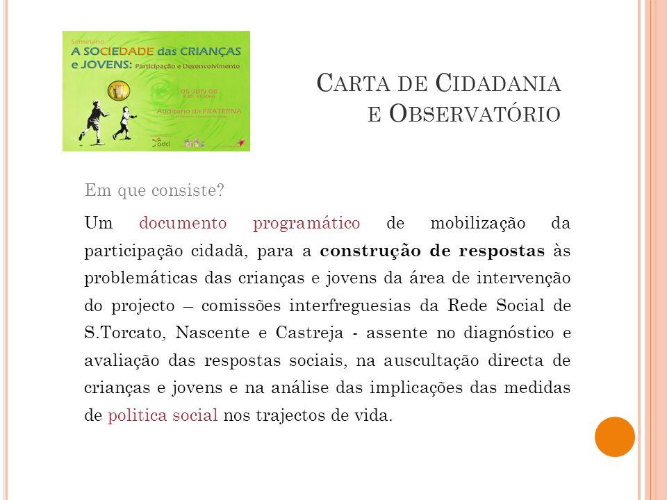 C ARTA DE C IDADANIA E O BSERVATÓRIO Em que consiste? Um documento programático de mobilização da participação cidadã, para a construção de respostas