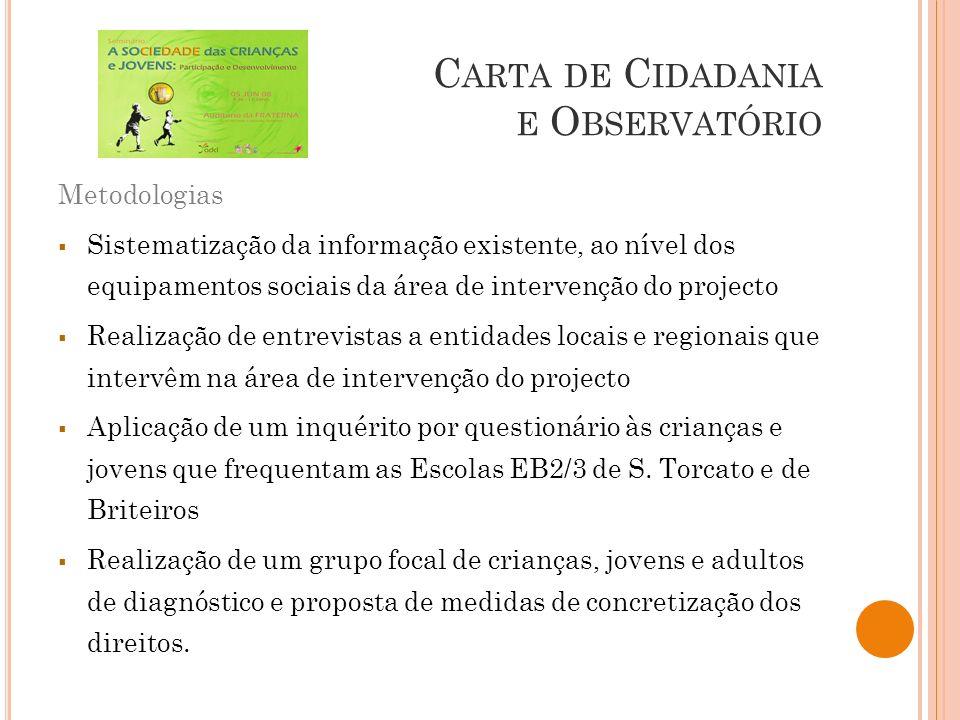C ARTA DE C IDADANIA E O BSERVATÓRIO Metodologias Sistematização da informação existente, ao nível dos equipamentos sociais da área de intervenção do