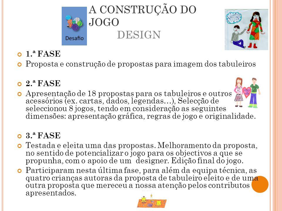 A CONSTRUÇÃO DO JOGO DESIGN 1.ª FASE Proposta e construção de propostas para imagem dos tabuleiros 2.ª FASE Apresentação de 18 propostas para os tabul