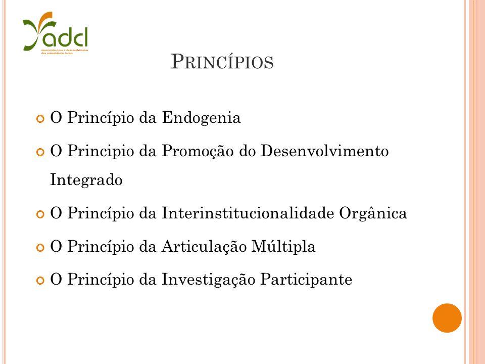 P RINCÍPIOS O Princípio da Endogenia O Principio da Promoção do Desenvolvimento Integrado O Princípio da Interinstitucionalidade Orgânica O Princípio