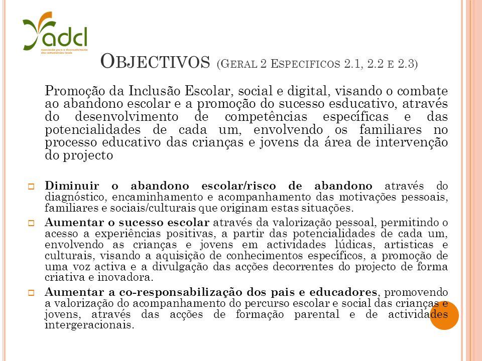 O BJECTIVOS (G ERAL 2 E SPECIFICOS 2.1, 2.2 E 2.3) Promoção da Inclusão Escolar, social e digital, visando o combate ao abandono escolar e a promoção