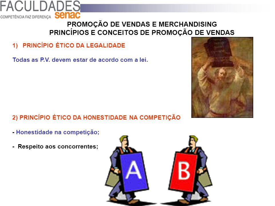 PROMOÇÃO DE VENDAS E MERCHANDISING PRINCÍPIOS E CONCEITOS DE PROMOÇÃO DE VENDAS 1)PRINCÍPIO ÉTICO DA LEGALIDADE Todas as P.V. devem estar de acordo co