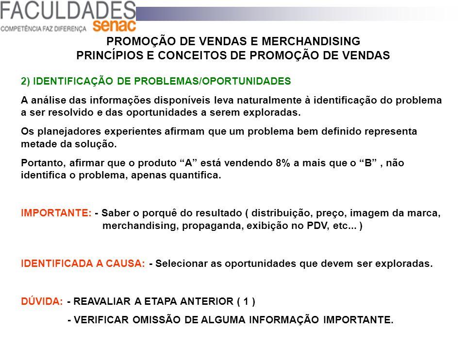 PROMOÇÃO DE VENDAS E MERCHANDISING PRINCÍPIOS E CONCEITOS DE PROMOÇÃO DE VENDAS 2) IDENTIFICAÇÃO DE PROBLEMAS/OPORTUNIDADES A análise das informações