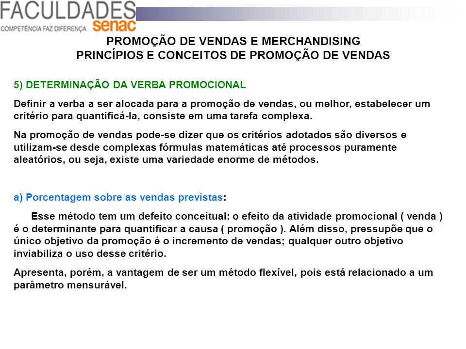 PROMOÇÃO DE VENDAS E MERCHANDISING PRINCÍPIOS E CONCEITOS DE PROMOÇÃO DE VENDAS 5) DETERMINAÇÃO DA VERBA PROMOCIONAL Definir a verba a ser alocada par
