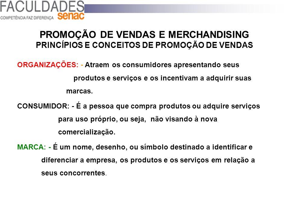 PROMOÇÃO DE VENDAS E MERCHANDISING PRINCÍPIOS E CONCEITOS DE PROMOÇÃO DE VENDAS ORGANIZAÇÕES: - Atraem os consumidores apresentando seus produtos e se
