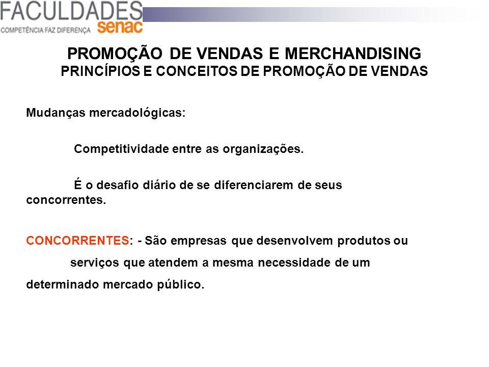 PROMOÇÃO DE VENDAS E MERCHANDISING PRINCÍPIOS E CONCEITOS DE PROMOÇÃO DE VENDAS Mudanças mercadológicas: Competitividade entre as organizações. É o de