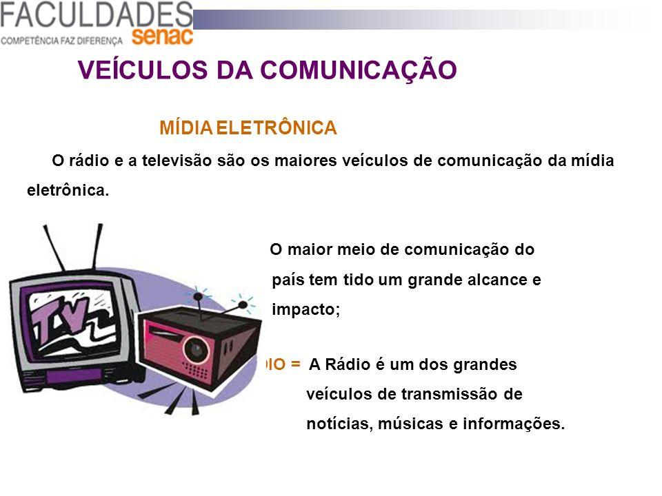 VEÍCULOS DA COMUNICAÇÃO MÍDIA ELETRÔNICA O rádio e a televisão são os maiores veículos de comunicação da mídia eletrônica. TV = O maior meio de comuni