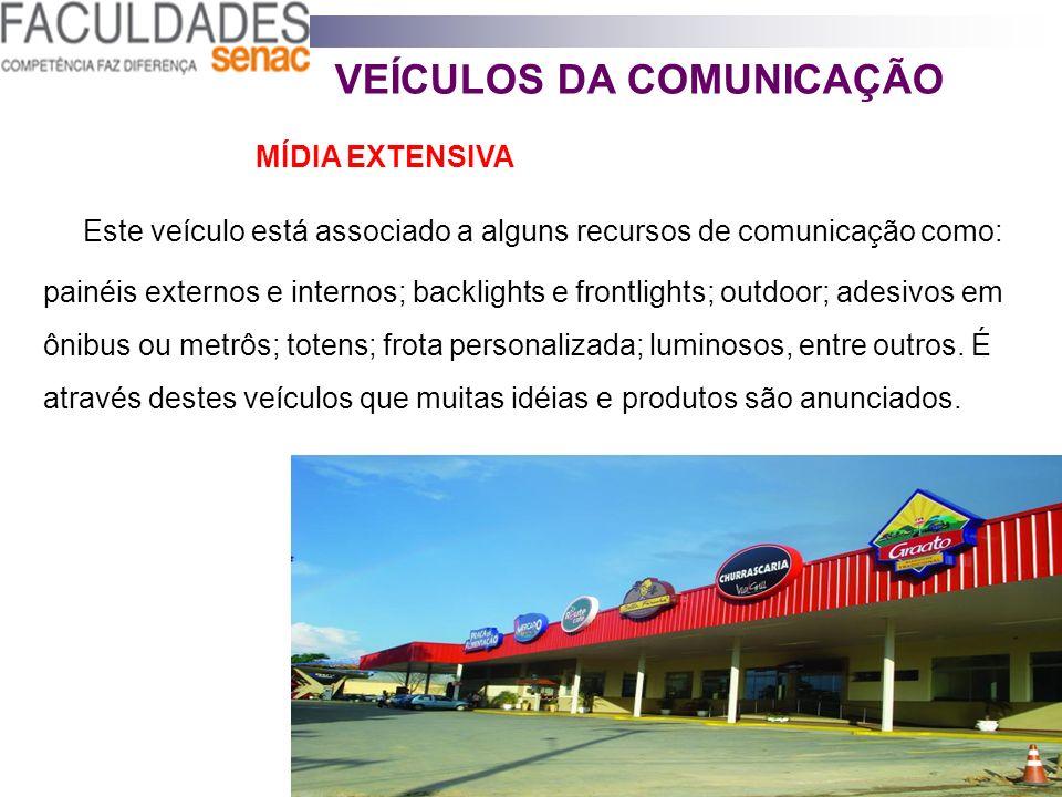 VEÍCULOS DA COMUNICAÇÃO MÍDIA EXTENSIVA Este veículo está associado a alguns recursos de comunicação como: painéis externos e internos; backlights e f
