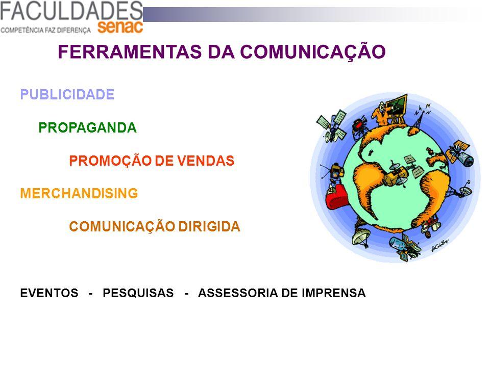 FERRAMENTAS DA COMUNICAÇÃO PUBLICIDADE PROPAGANDA PROMOÇÃO DE VENDAS MERCHANDISING COMUNICAÇÃO DIRIGIDA EVENTOS - PESQUISAS - ASSESSORIA DE IMPRENSA