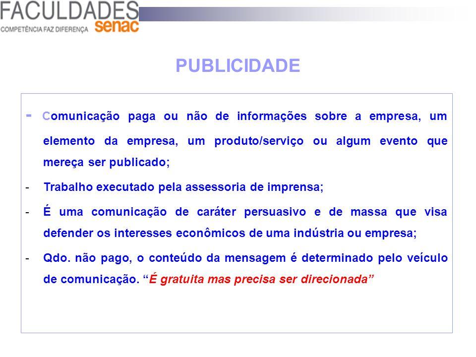 PUBLICIDADE - Comunicação paga ou não de informações sobre a empresa, um elemento da empresa, um produto/serviço ou algum evento que mereça ser public