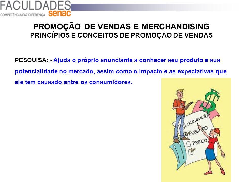PROMOÇÃO DE VENDAS E MERCHANDISING PRINCÍPIOS E CONCEITOS DE PROMOÇÃO DE VENDAS PESQUISA: - Ajuda o próprio anunciante a conhecer seu produto e sua po