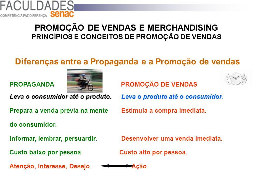 PROMOÇÃO DE VENDAS E MERCHANDISING PRINCÍPIOS E CONCEITOS DE PROMOÇÃO DE VENDAS Diferenças entre a Propaganda e a Promoção de vendas PROPAGANDA PROMOÇ