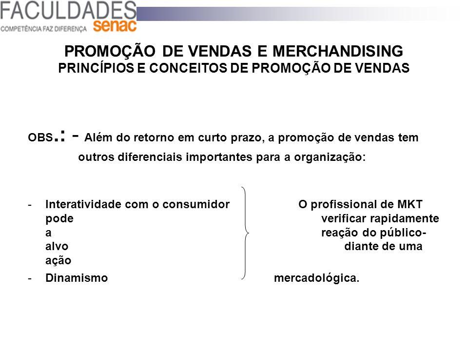 PROMOÇÃO DE VENDAS E MERCHANDISING PRINCÍPIOS E CONCEITOS DE PROMOÇÃO DE VENDAS OBS.: - Além do retorno em curto prazo, a promoção de vendas tem outro