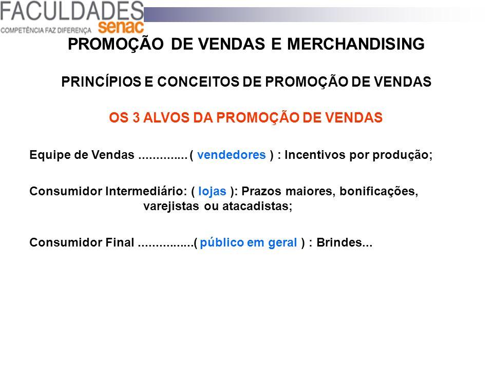 PROMOÇÃO DE VENDAS E MERCHANDISING PRINCÍPIOS E CONCEITOS DE PROMOÇÃO DE VENDAS OS 3 ALVOS DA PROMOÇÃO DE VENDAS Equipe de Vendas.............. ( vend