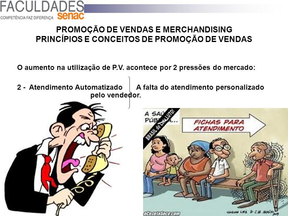 PROMOÇÃO DE VENDAS E MERCHANDISING PRINCÍPIOS E CONCEITOS DE PROMOÇÃO DE VENDAS O aumento na utilização de P.V. acontece por 2 pressões do mercado: 2