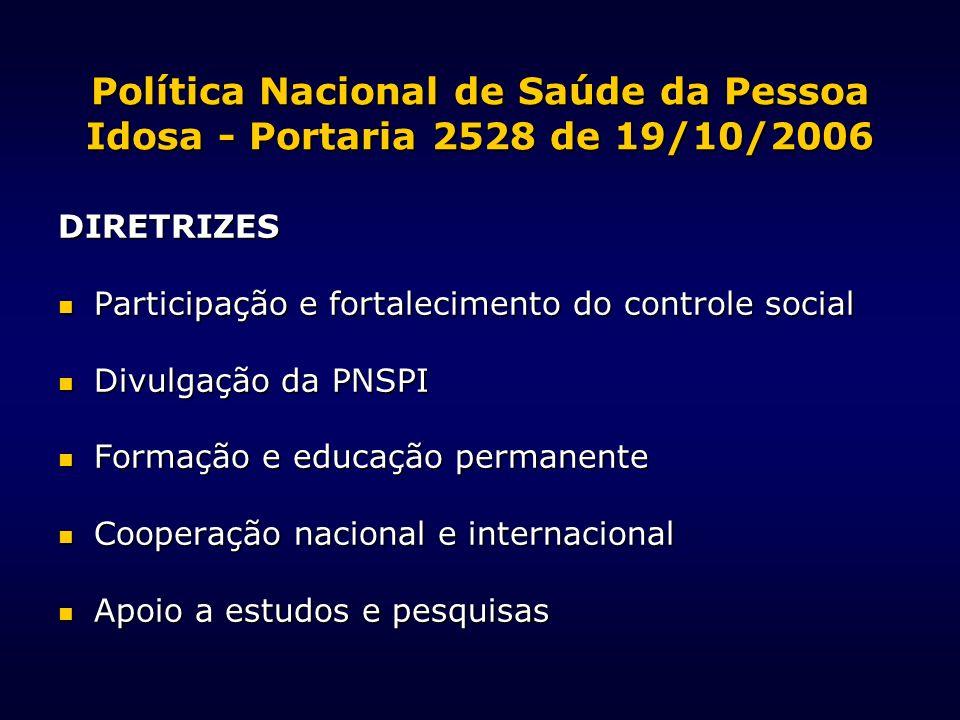 Política Nacional de Saúde da Pessoa Idosa - Portaria 2528 de 19/10/2006 DIRETRIZES Participação e fortalecimento do controle social Participação e fo