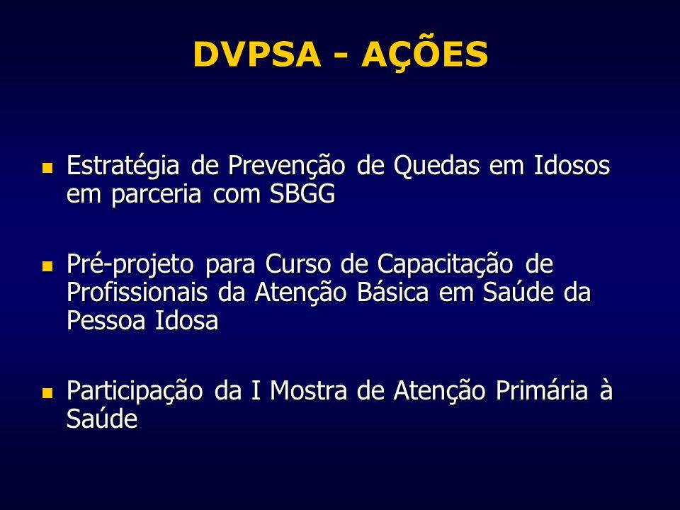 DVPSA - AÇÕES Estratégia de Prevenção de Quedas em Idosos em parceria com SBGG Estratégia de Prevenção de Quedas em Idosos em parceria com SBGG Pré-pr