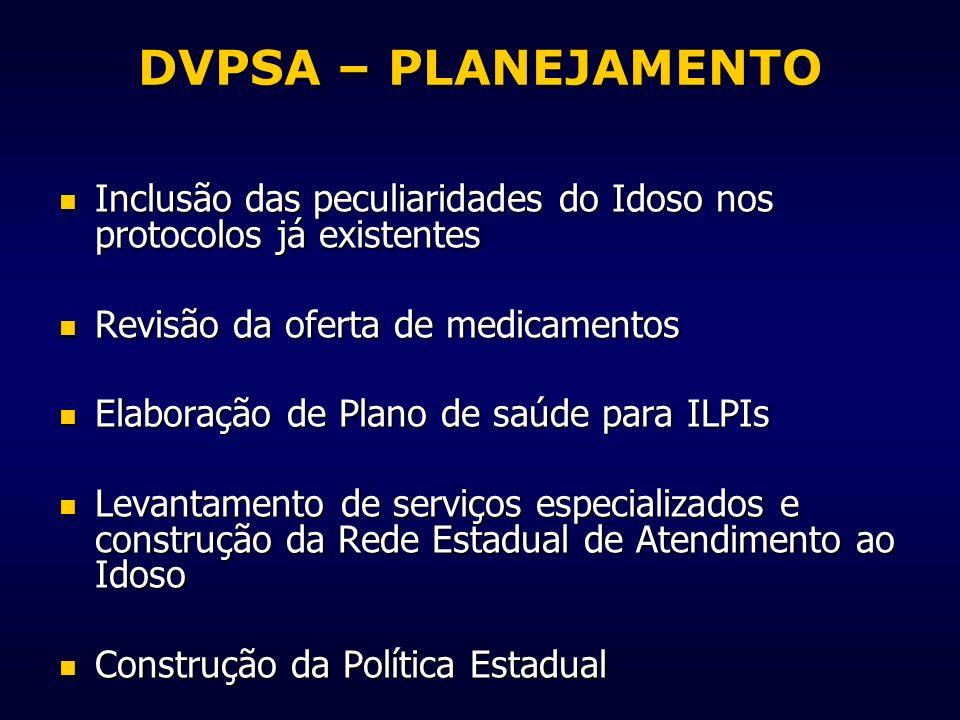DVPSA – PLANEJAMENTO Inclusão das peculiaridades do Idoso nos protocolos já existentes Inclusão das peculiaridades do Idoso nos protocolos já existent