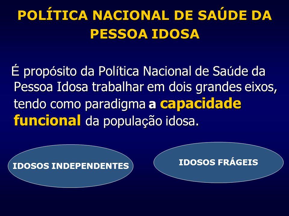 POLÍTICA NACIONAL DE SAÚDE DA PESSOA IDOSA É prop ó sito da Pol í tica Nacional de Sa ú de da Pessoa Idosa trabalhar em dois grandes eixos, tendo como
