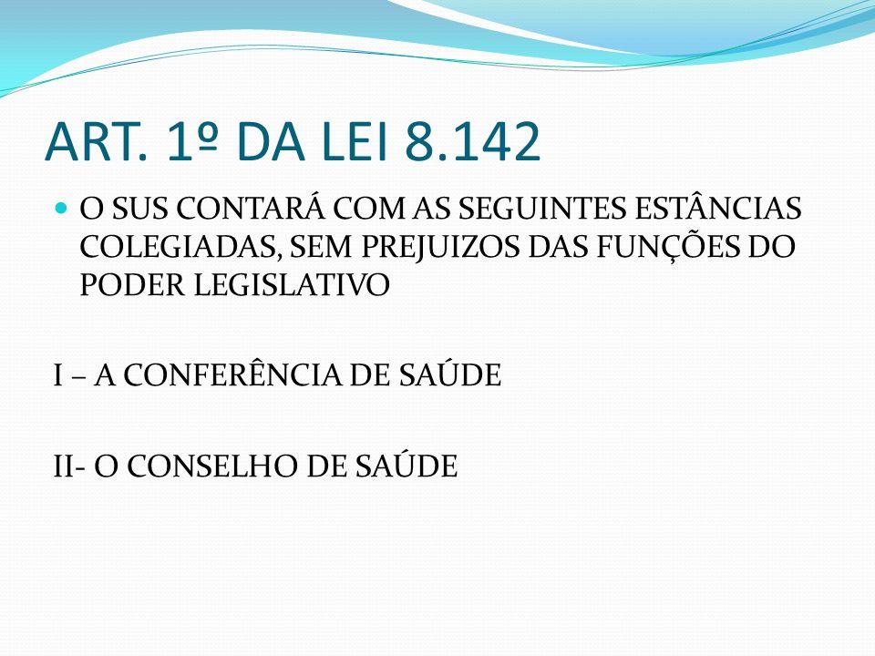 ART. 1º DA LEI 8.142 O SUS CONTARÁ COM AS SEGUINTES ESTÂNCIAS COLEGIADAS, SEM PREJUIZOS DAS FUNÇÕES DO PODER LEGISLATIVO I – A CONFERÊNCIA DE SAÚDE II