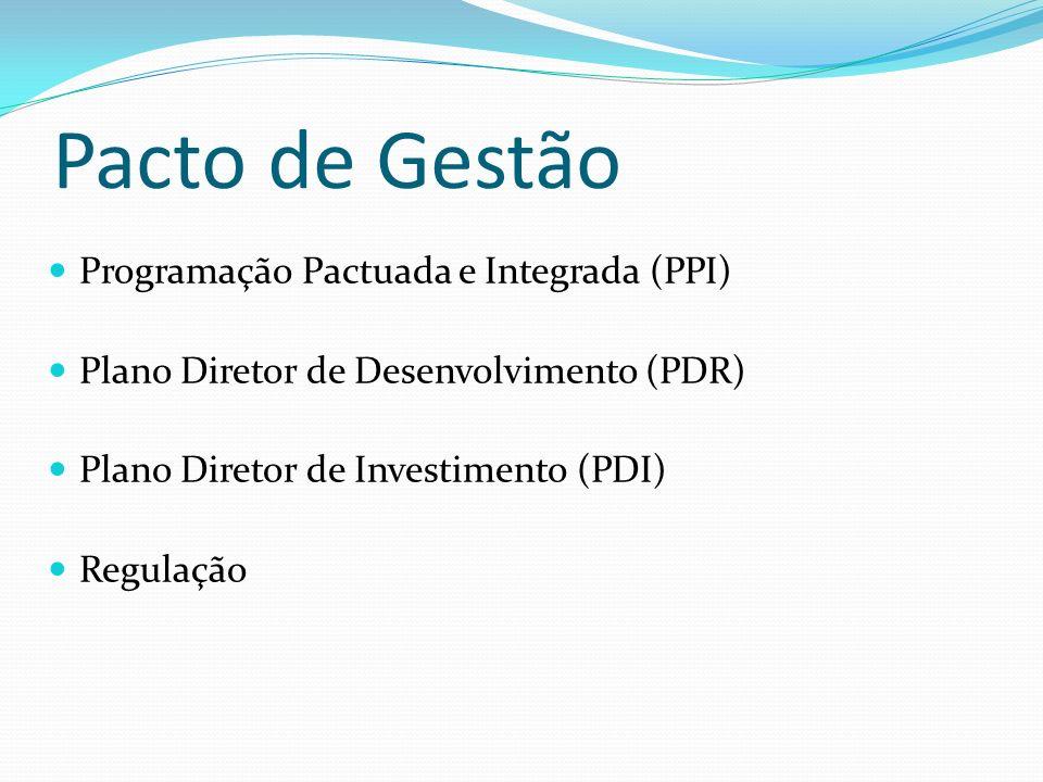 Pacto de Gestão Programação Pactuada e Integrada (PPI) Plano Diretor de Desenvolvimento (PDR) Plano Diretor de Investimento (PDI) Regulação
