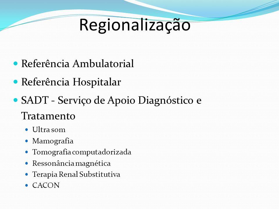 Regionalização Referência Ambulatorial Referência Hospitalar SADT - Serviço de Apoio Diagnóstico e Tratamento Ultra som Mamografia Tomografia computadorizada Ressonância magnética Terapia Renal Substitutiva CACON