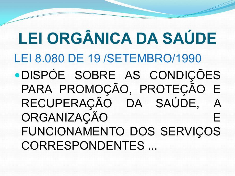 LEI ORGÂNICA DA SAÚDE LEI 8.080 DE 19 /SETEMBRO/1990 DISPÓE SOBRE AS CONDIÇÕES PARA PROMOÇÃO, PROTEÇÃO E RECUPERAÇÃO DA SAÚDE, A ORGANIZAÇÃO E FUNCION