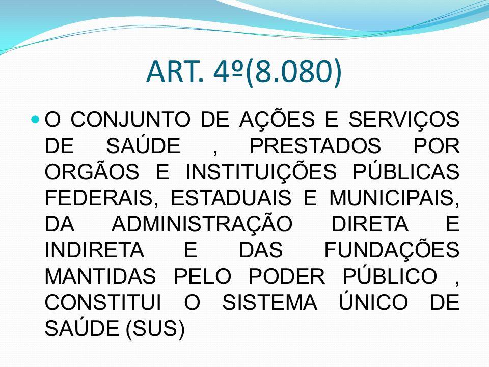 ART. 4º(8.080) O CONJUNTO DE AÇÕES E SERVIÇOS DE SAÚDE, PRESTADOS POR ORGÃOS E INSTITUIÇÕES PÚBLICAS FEDERAIS, ESTADUAIS E MUNICIPAIS, DA ADMINISTRAÇÃ