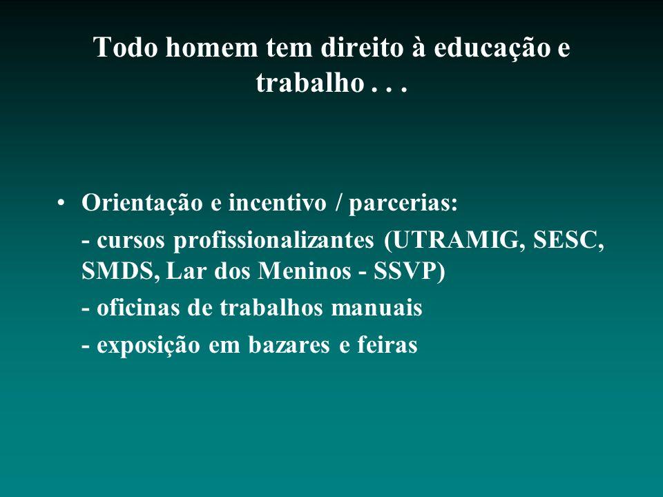 Todo homem tem direito à educação e trabalho... Orientação e incentivo / parcerias: - cursos profissionalizantes (UTRAMIG, SESC, SMDS, Lar dos Meninos