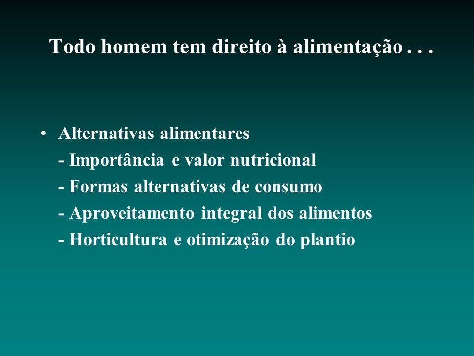 Todo homem tem direito à alimentação... Alternativas alimentares - Importância e valor nutricional - Formas alternativas de consumo - Aproveitamento i