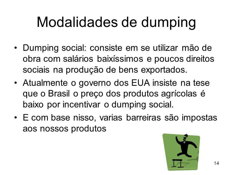 14 Modalidades de dumping Dumping social: consiste em se utilizar mão de obra com salários baixíssimos e poucos direitos sociais na produção de bens exportados.