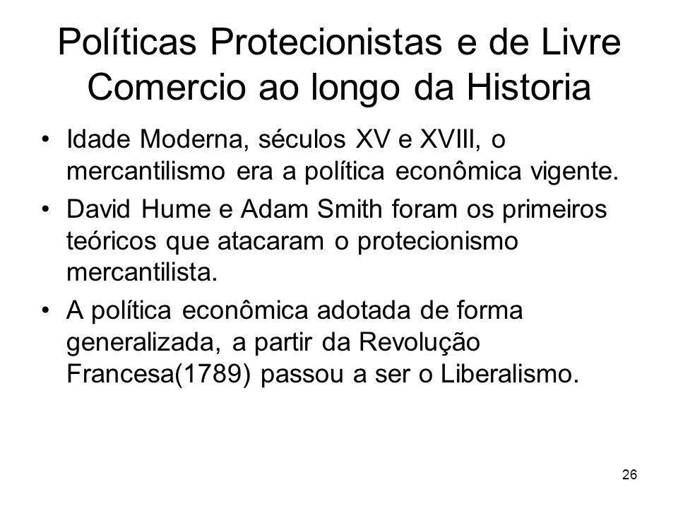 26 Políticas Protecionistas e de Livre Comercio ao longo da Historia Idade Moderna, séculos XV e XVIII, o mercantilismo era a política econômica vigente.