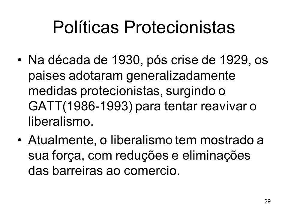 29 Políticas Protecionistas Na década de 1930, pós crise de 1929, os paises adotaram generalizadamente medidas protecionistas, surgindo o GATT(1986-1993) para tentar reavivar o liberalismo.