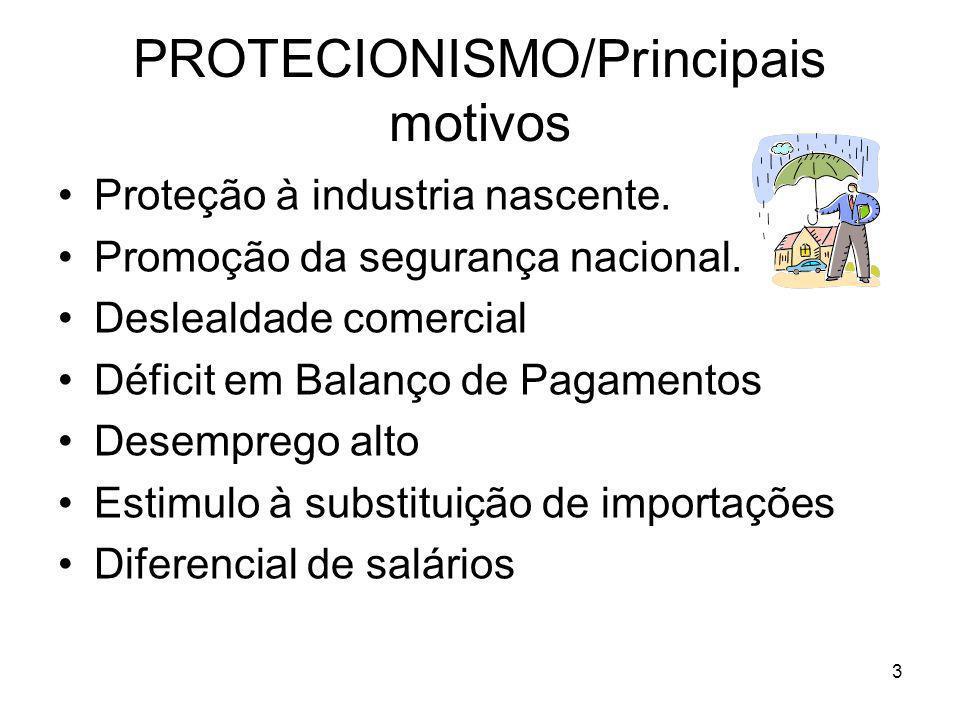 3 PROTECIONISMO/Principais motivos Proteção à industria nascente.
